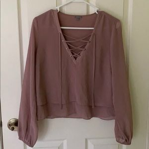 Charlotte Russe Blush Pink Silky Blouse
